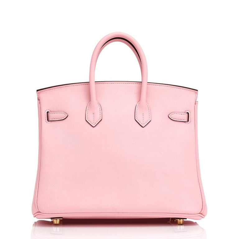 Hermes Swift Gold Hardware Pink Jewel Birkin 25 Rose Sakura Bag  For Sale 1