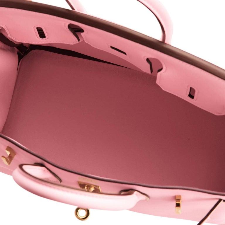 Hermes Swift Gold Hardware Pink Jewel Birkin 25 Rose Sakura Bag  For Sale 4