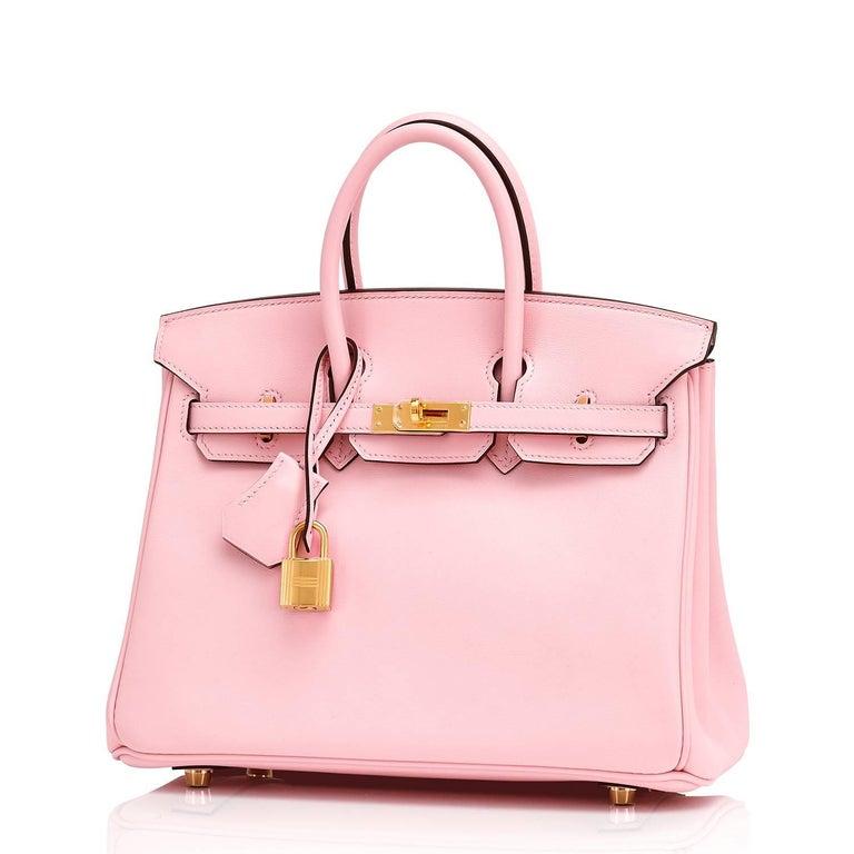 Hermes Swift Gold Hardware Pink Jewel Birkin 25 Rose Sakura Bag  For Sale 6
