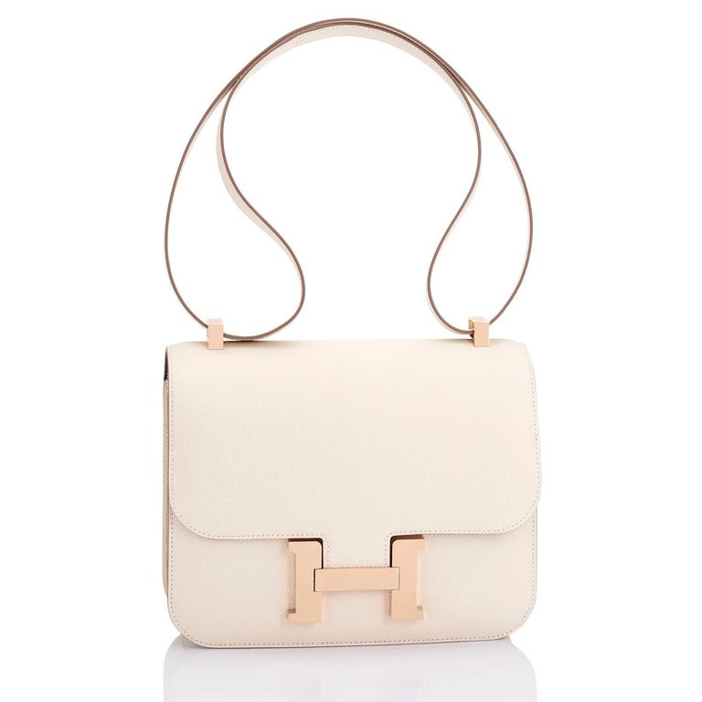 Hermes Constance HSS MM 24cm Craie and Etain Horseshoe Stamp Shoulder Bag Rose Gold World Exclusive!   Superb Horseshoe Stamp Bi-Color Special Order Constance MM especially made for a VIP. Brand New in Box with Hermes box, ribbon, and sleeper.