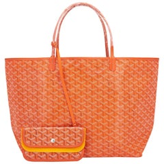 Goyard Orange St Louis GM Chevron Tote Bag