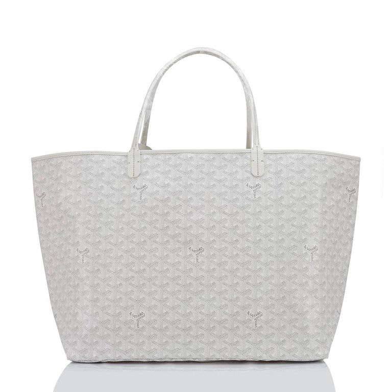 Goyard White St Louis GM Chevron Tote Bag Fabulous  Brand New. Store Fresh. Pristine Condition (with plastic on handles)  Perfect gift! Comes with yellow Goyard sleeper and inner organizational pochette.  This is the cult-favorite Goyard Chevron