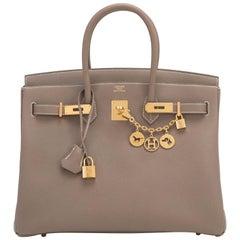 Hermes 35cm Etoupe Togo Taupe Gold Hardware C Stamp Birkin Bag