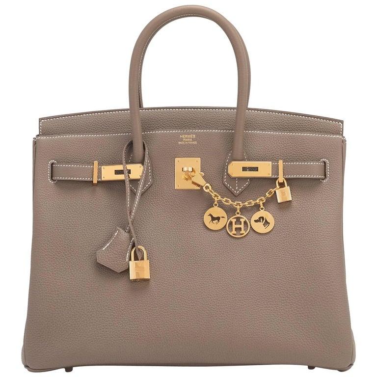 Hermes 35cm Etoupe Togo Taupe Gold Hardware C Stamp Birkin Bag For Sale 68031a7d59b6