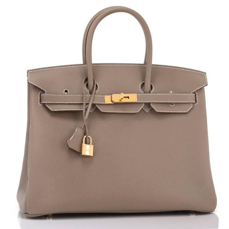 Hermes Etoupe Togo 35cm Birkin Gold Hardware  Brand New in Box. Store fresh. Pristine Condition (with plastic on hardware).  Perfect gift! Comes in full set with lock, keys, clochette, sleeper, raincoat, and orange Hermes box. This is the elegant