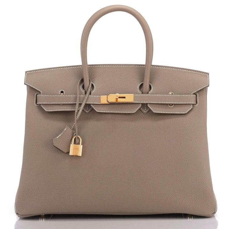 Brown Hermes 35cm Birkin Etoupe Togo Taupe Gold Hardware Bag