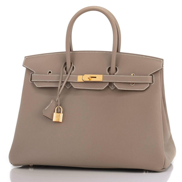 Hermes 35cm Birkin Etoupe Togo Taupe Gold Hardware Bag In New Condition In New York, NY