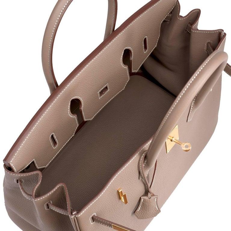 Hermes 35cm Birkin Etoupe Togo Taupe Gold Hardware Bag 3