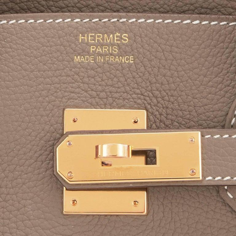 Hermes 35cm Birkin Etoupe Togo Taupe Gold Hardware Bag 4
