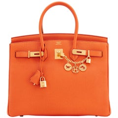 Hermes Classic Orange Togo Gold Hardware Birkin 35cm Bag
