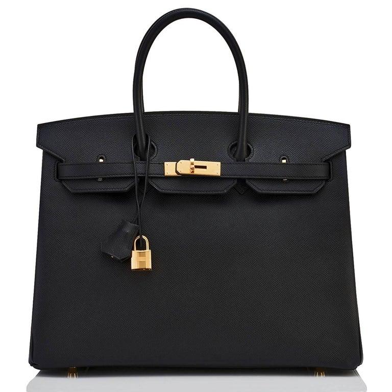 301b30b0f2e1 Hermes Black Gold Hardware Epsom C Stamp Birkin 35 Bag