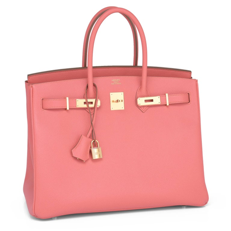 Divine Hermes Flamingo Peach Pink 35cm Birkin Epsom Gold Hardware  Brand New in Box. Pristine condition (with plastic on hardware).  Perfect gift! Coming full set with keys, lock, clochette, a sleeper for the bag, rain protector, orange Hermes box