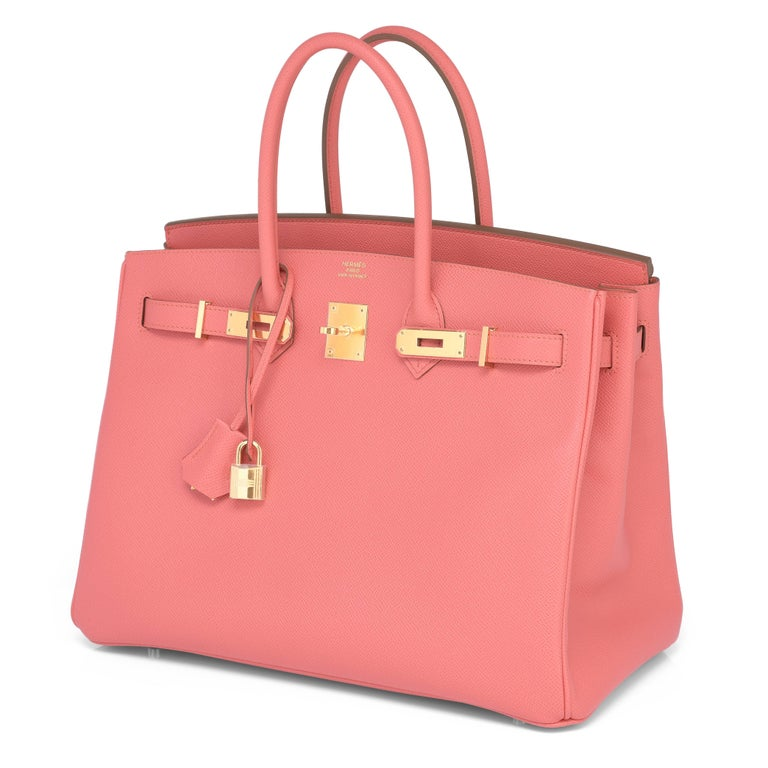 Women's Hermes Flamingo Peach Pink Epsom Gold Hardware Birkin 35cm Bag For Sale