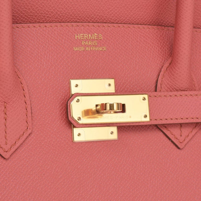 Hermes Flamingo Peach Pink Epsom Gold Hardware Birkin 35cm Bag For Sale 5