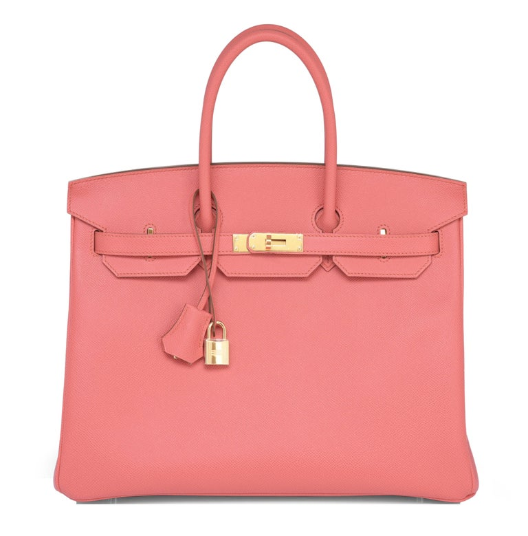 Hermes Flamingo Peach Pink Epsom Gold Hardware Birkin 35cm Bag For Sale 6