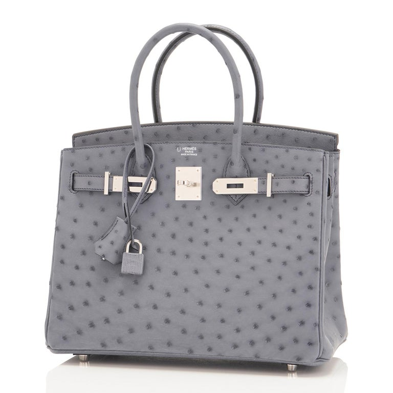 Hermes HSS Horseshoe Gris Agate Perle Ostrich Grey C Stamp Birkin 30 Bag, 2018 For Sale 1
