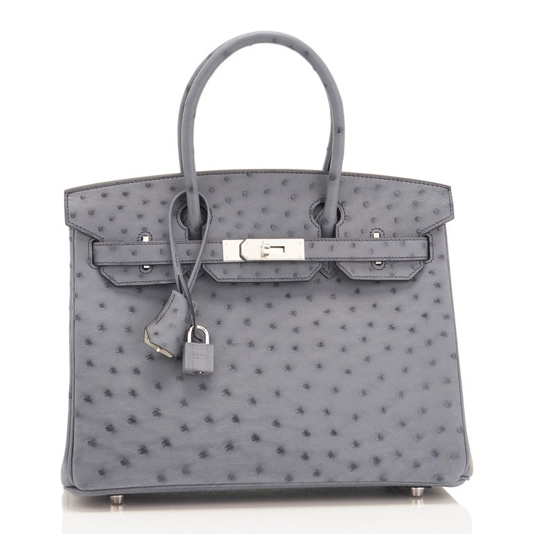 Hermes HSS Horseshoe Gris Agate Perle Ostrich Grey C Stamp Birkin 30 Bag, 2018 For Sale 4