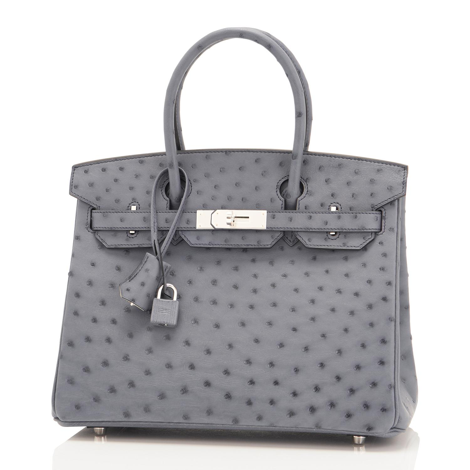 f5f86e76584 ... clearance hermes hss horseshoe gris agate perle ostrich grey c stamp  birkin 30 bag 2018 for