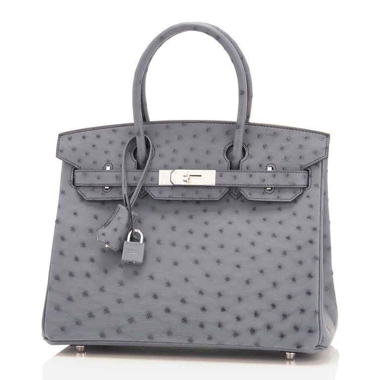 Hermes HSS Horseshoe Gris Agate Perle Ostrich Grey C Stamp Birkin 30 Bag, 2018 For Sale 6