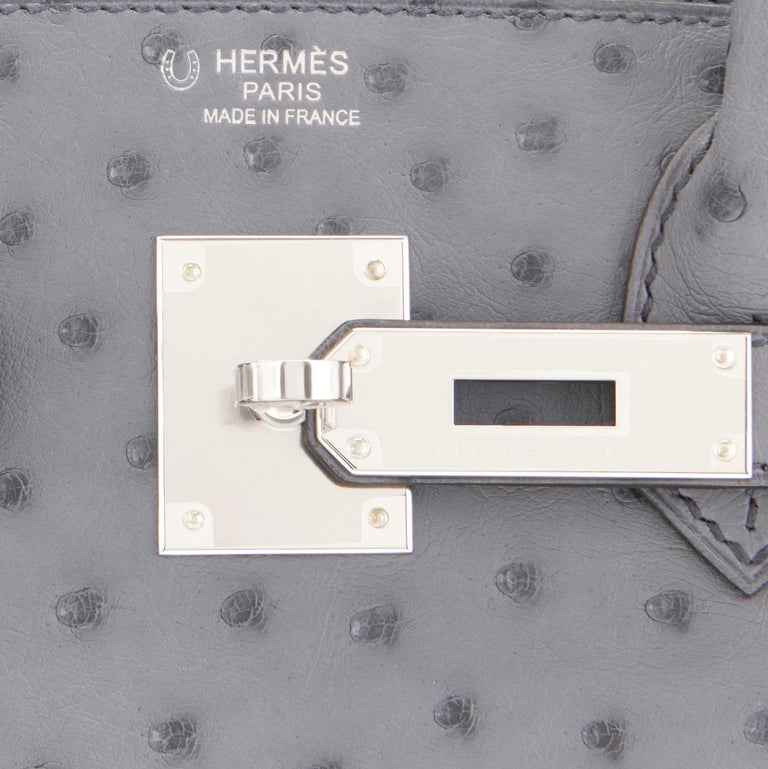 World Exclusive Horse Shoe Stamp Hermes Birkin 30 HSS Ostrich Gris Agate Gris Perle Grey Bag Brand New in Box. Store fresh. Pristine Condition (with plastic on hardware)  Just picked up from Hermes store; bag bears new interior C Stamp. Perfect