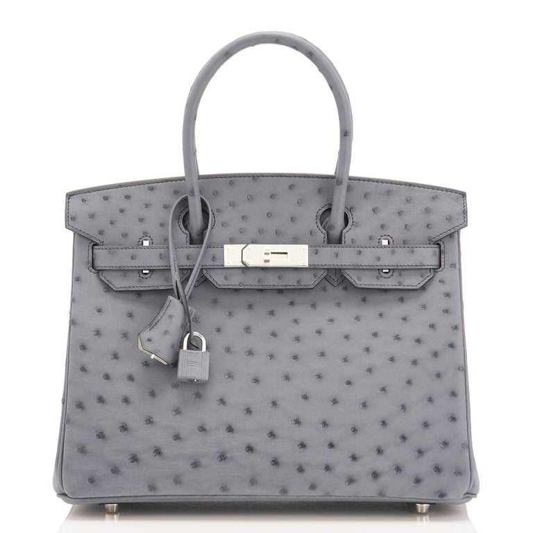 Women's Hermes HSS Horseshoe Gris Agate Perle Ostrich Grey C Stamp Birkin 30 Bag, 2018 For Sale