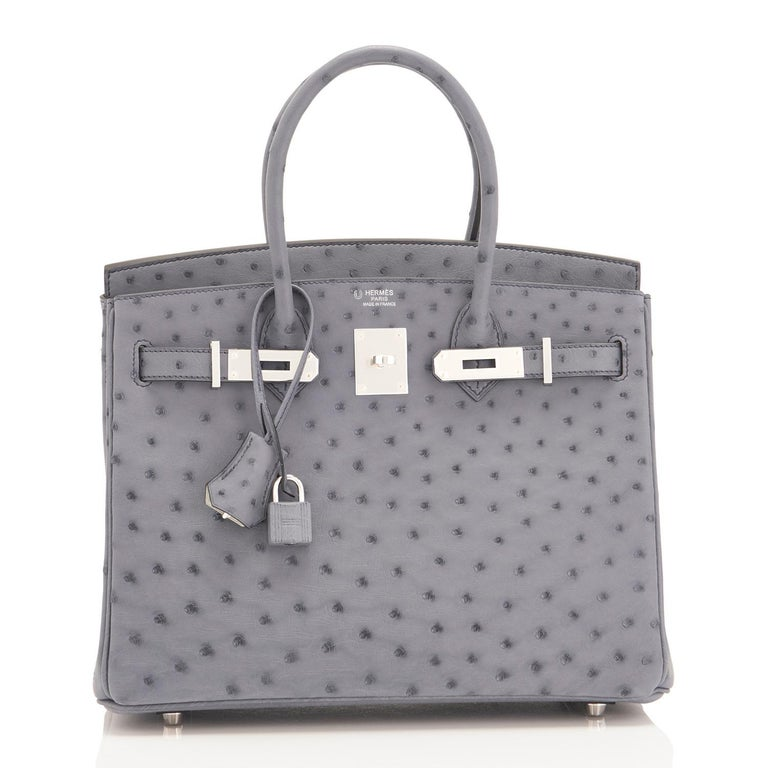 Hermes HSS Horseshoe Gris Agate Perle Ostrich Grey C Stamp Birkin 30 Bag, 2018 In New Condition For Sale In New York, NY