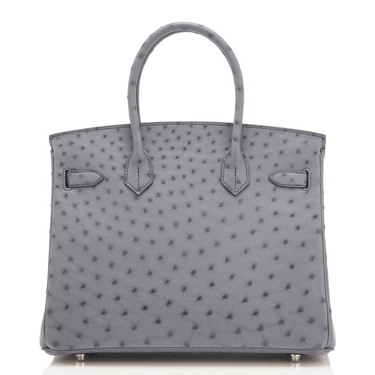 Hermes HSS Horseshoe Gris Agate Perle Ostrich Grey C Stamp Birkin 30 Bag, 2018 For Sale 2
