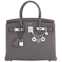 Hermes Etain Tin Grey Togo Palladium Hardware C Stamp Birkin 30cm Bag, 2018