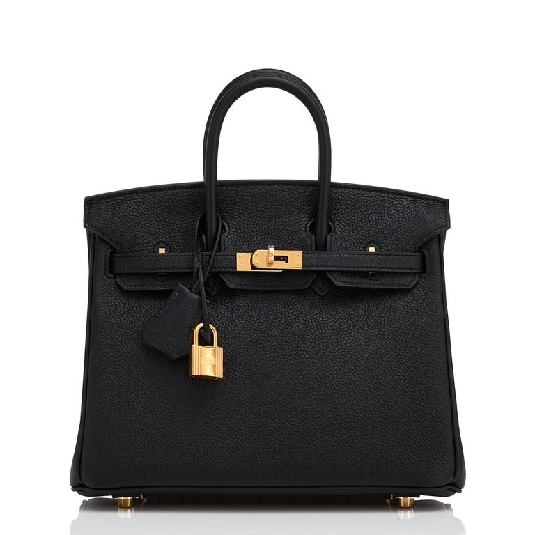 Hermes Birkin 25cm Black Togo Bag Gold Hardware  In New Condition For Sale In New York, NY