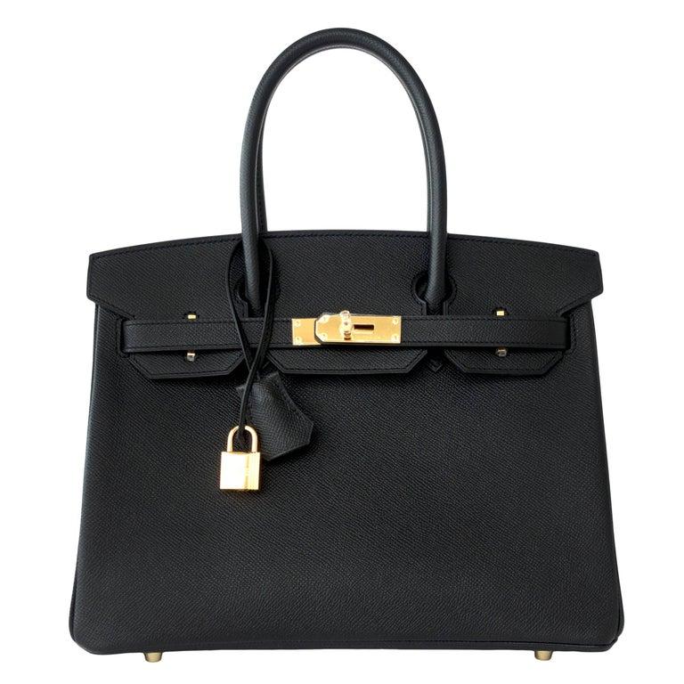 Hermes Birkin 30cm Black Epsom Gold Hardware Bag C Stamp, 2018