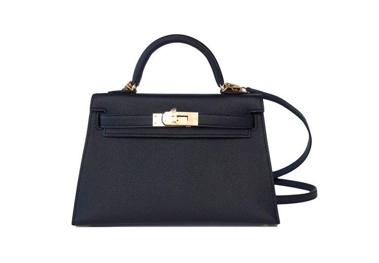 Hermes Kelly 20cm Black Limited Edition Vip Epsom Gold Shoulder 4 Way Bag In New