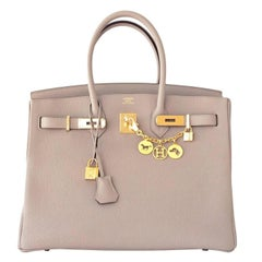 Hermes Birkin 35cm Gris Tourtelle Dove Grey Togo Gold Bag C Stamp, 2018