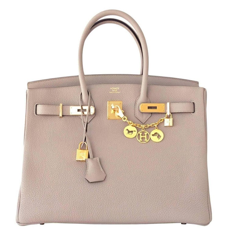 Hermes Birkin 35cm Gris Tourtelle Dove Grey Togo Gold Bag C Stamp, 2018 For Sale