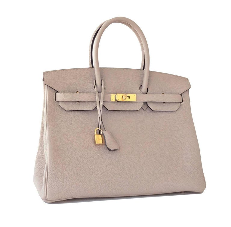 Hermes Gris Tourterelle 35cm Dove Grey Togo Birkin Gold Tote Bag C Stamp 2018 Extremely rare Store Fresh 2018 C stamp Gris Tourterelle Birkin 35cm! Brand New in Box. Store fresh. Pristine Condition (with plastic on hardware). Perfect gift! Comes in
