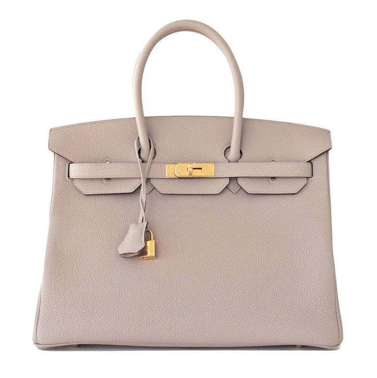 Hermes Birkin 35cm Gris Tourtelle Dove Grey Togo Gold Bag C Stamp, 2018 In New Condition For Sale In New York, NY