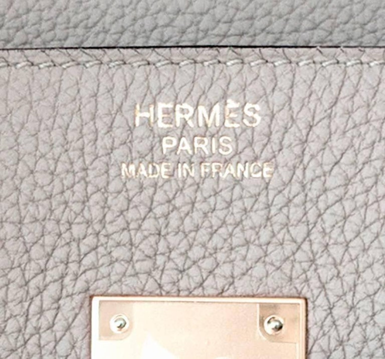 Hermes Birkin 35cm Gris Tourtelle Dove Grey Togo Gold Bag C Stamp, 2018 For Sale 4