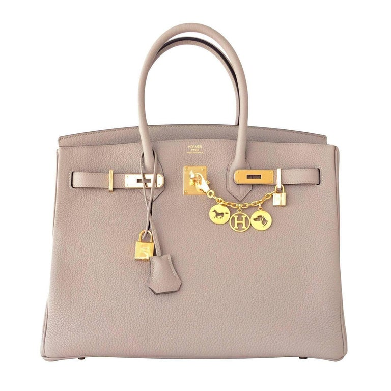 Hermes Birkin 35cm Gris Tourtelle Dove Grey Togo Gold Bag C Stamp, 2018 For Sale 5