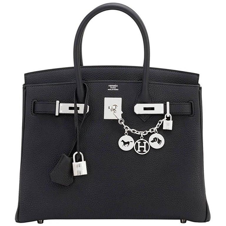 Hermes Birkin 30cm Black Togo Palladium Hardware C Stamp Bag, 2018  1