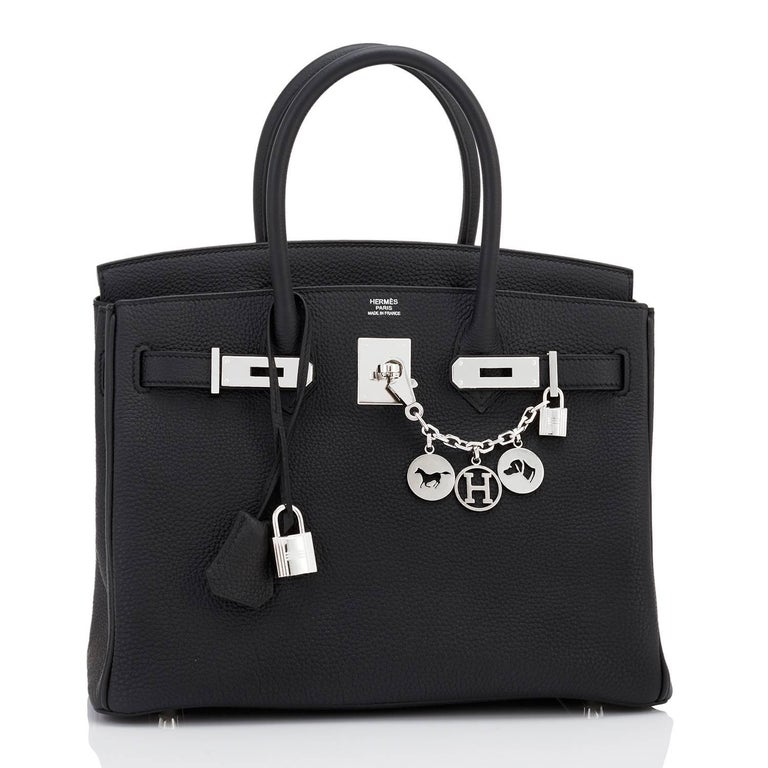 Hermes Black Togo 30cm Birkin Palladium Hardware Leather Bag  Brand New in Box. Store fresh. Pristine condition (with plastic on hardware) Perfect gift!  Comes with keys, lock, clochette, a sleeper for the bag, rain protector, and signature orange