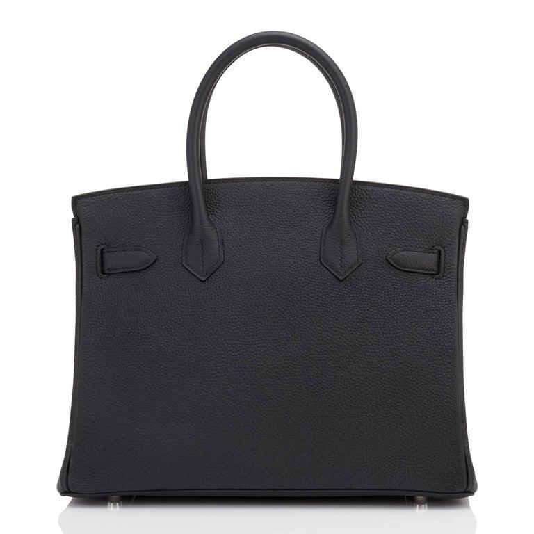 Hermes Birkin 30cm Black Togo Palladium Hardware C Stamp Bag, 2018  5