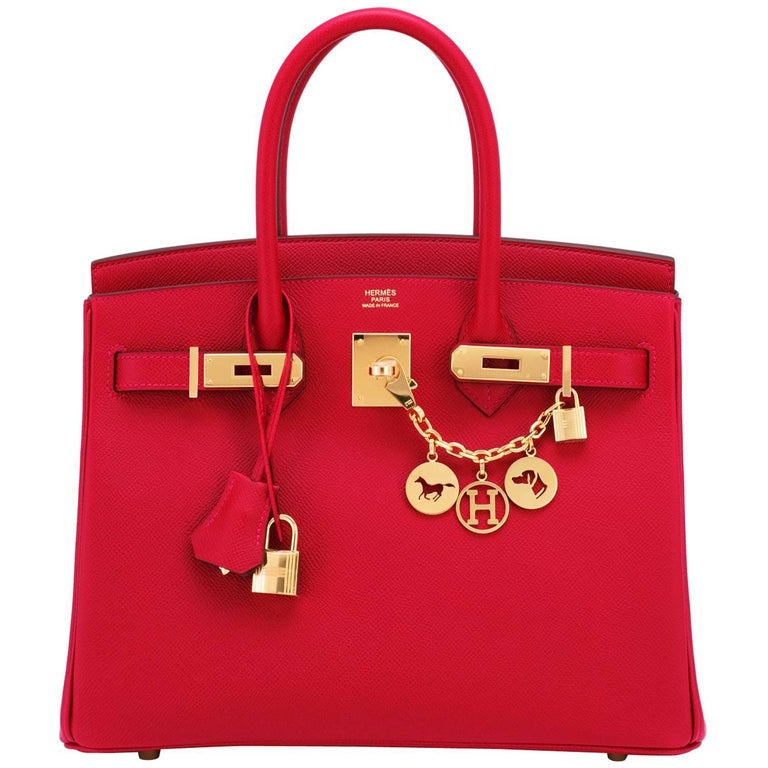 Hermes Birkin 30cm Rouge Casaque Birkin Red Epsom Gold Hardware C Stamp, 2018 For Sale
