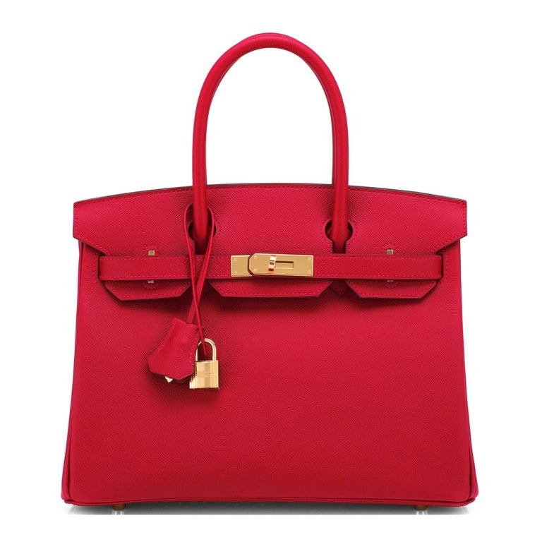 Hermes Birkin 30cm Rouge Casaque Birkin Red Epsom Gold Hardware C Stamp, 2018 In New Condition For Sale In New York, NY