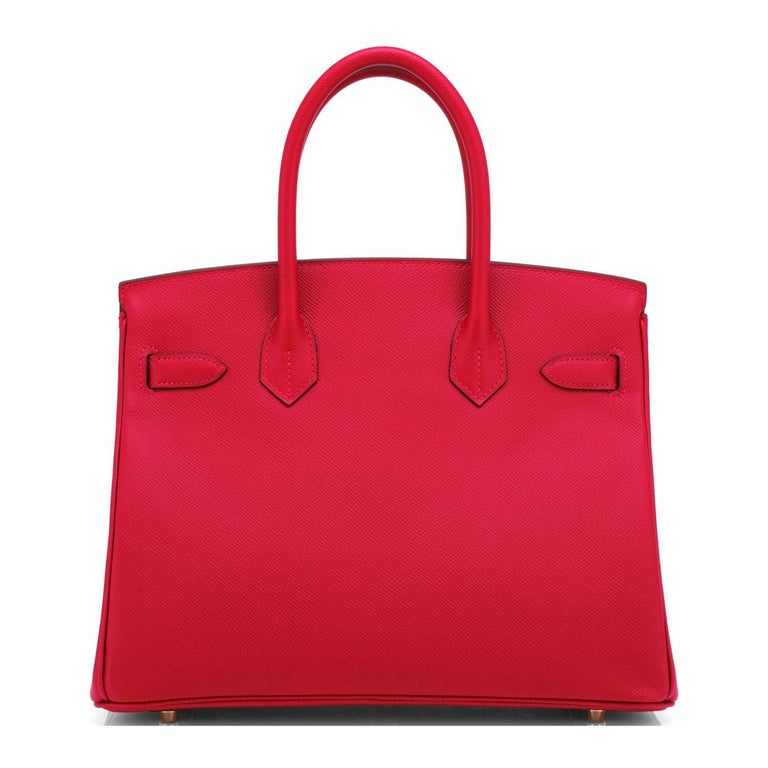 Hermes Birkin 30cm Rouge Casaque Birkin Red Epsom Gold Hardware C Stamp, 2018 For Sale 1