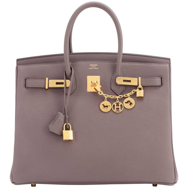 Hermes Birkin 35cm Etain Tin Grey Togo Gold Hardware C Stamp, 2018 For Sale 5