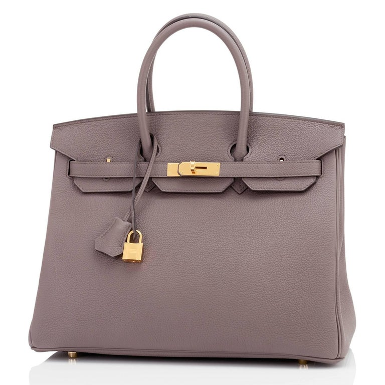 Gray Hermes Birkin 35cm Etain Tin Grey Togo Gold Hardware C Stamp, 2018 For Sale