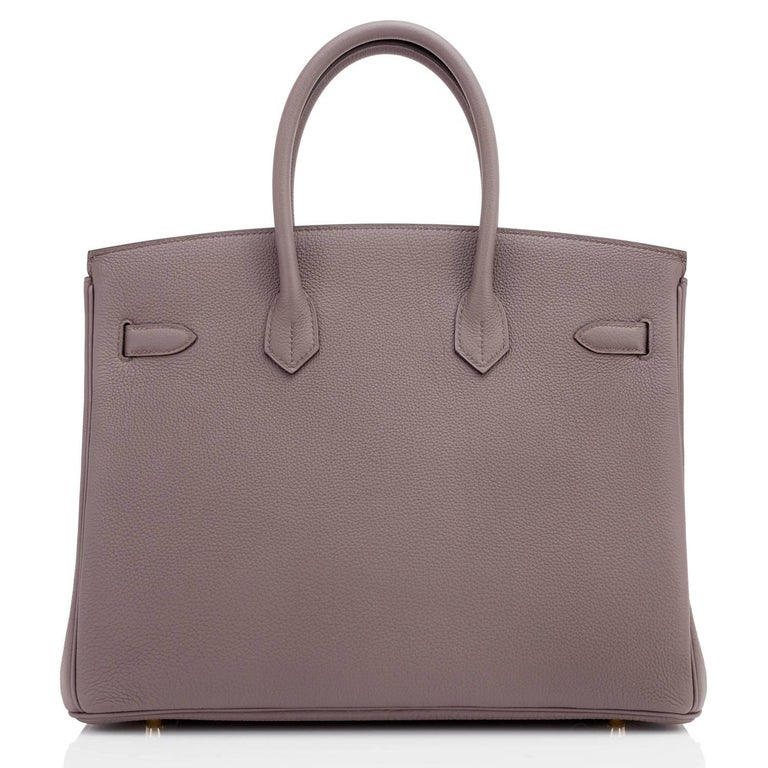 Hermes Birkin 35cm Etain Tin Grey Togo Gold Hardware C Stamp, 2018 In New Condition For Sale In New York, NY