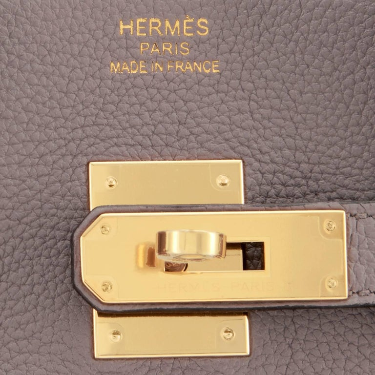 Hermes Birkin 35cm Etain Tin Grey Togo Gold Hardware C Stamp, 2018 For Sale 4