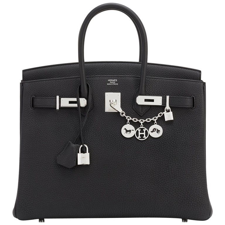 Hermes Birkin 35cm Black Togo Palladium Hardware C Stamp, 2018 For Sale