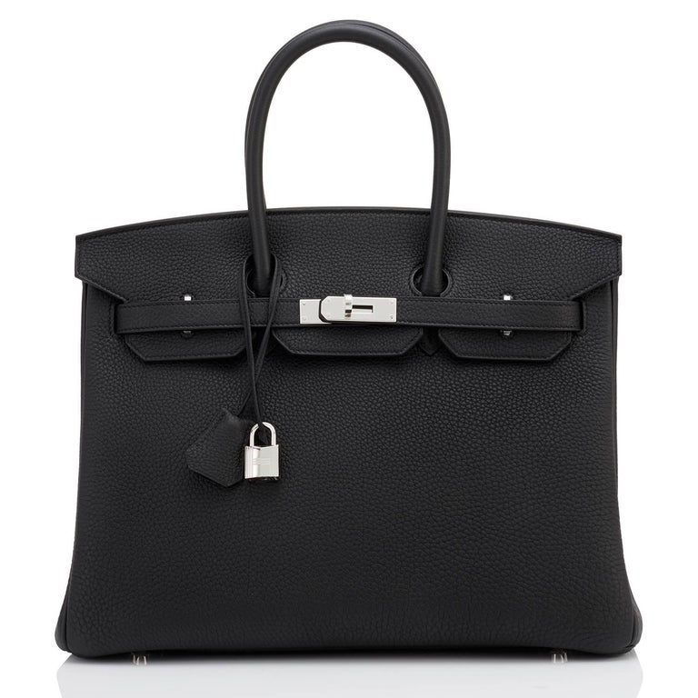 Hermes Birkin 35cm Black Togo Palladium Hardware C Stamp, 2018 In New Condition For Sale In New York, NY