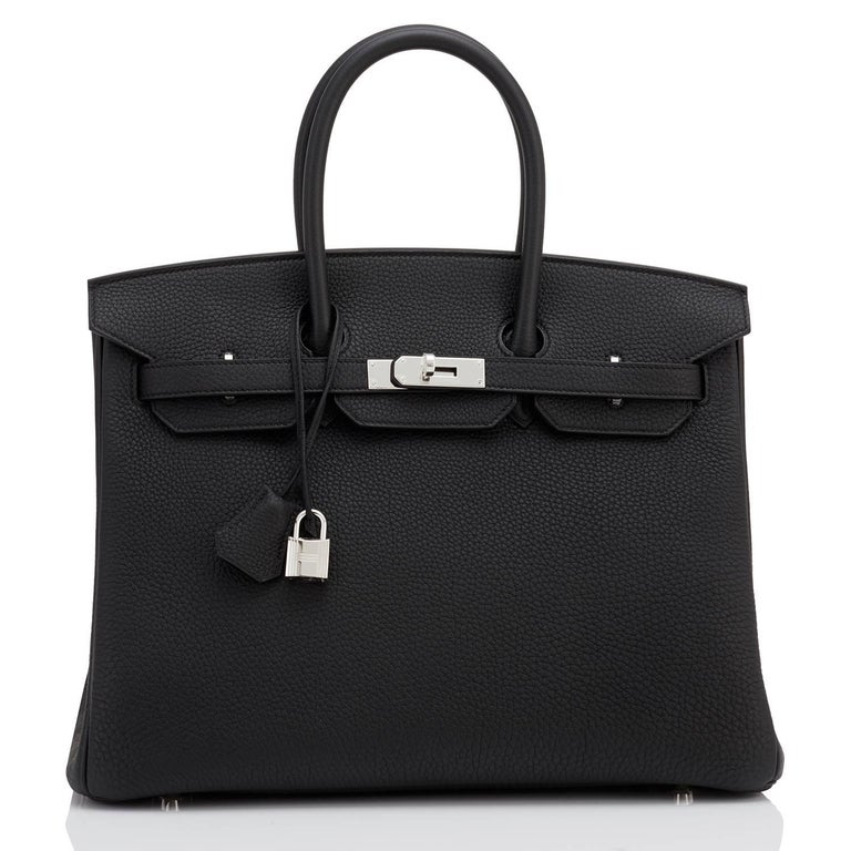 Women's or Men's Hermes Birkin 35cm Black Togo Palladium Hardware C Stamp, 2018 For Sale